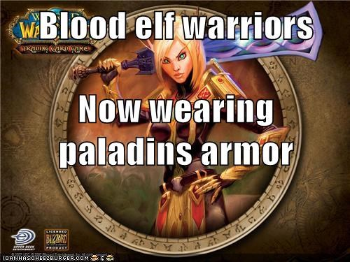 Blood elf warriors Now wearing paladins armor