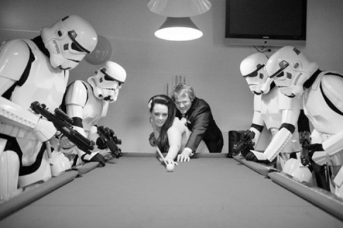 pool,weird,stormtrooper,couple