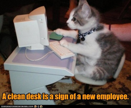 A clean desk is a sign of a new employee.