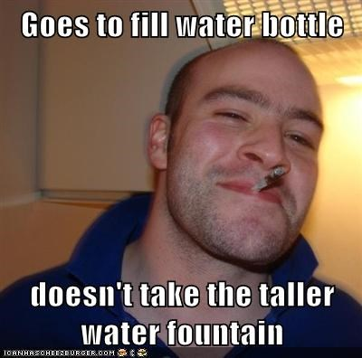 Goes to fill water bottle  doesn't take the taller water fountain