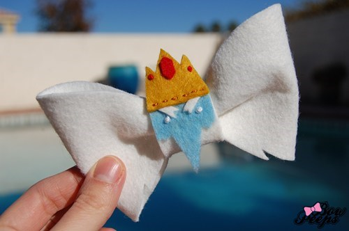 adventure time,ice king,handmade,hair bow