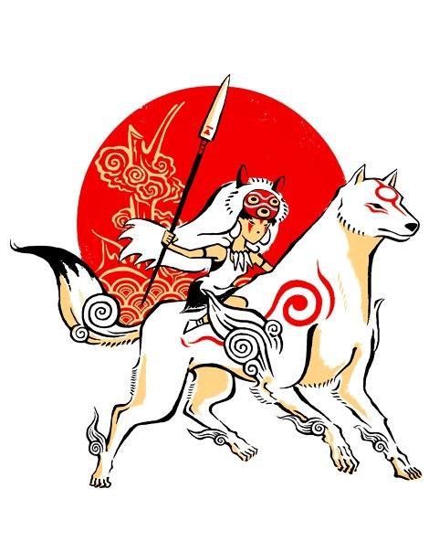 Ōkami,crossover,fan art,T.Shirt,princess mononoke