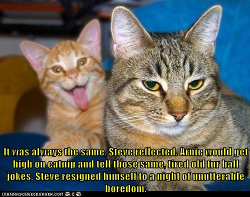 It was always the same, Steve reflected. Arnie would get high on catnip and tell those same, tired old fur ball jokes. Steve resigned himself to a night of unutterable boredom.