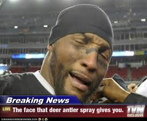 Breaking News - The face that deer antler spray gives you.