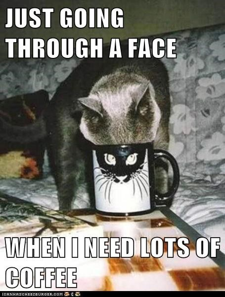 JUST GOING THROUGH A FACE  WHEN I NEED LOTS OF COFFEE