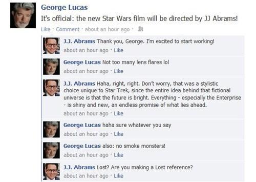 george lucas,JJ Abrams,lens flare,star wars,facebook,lost,Jar Jar