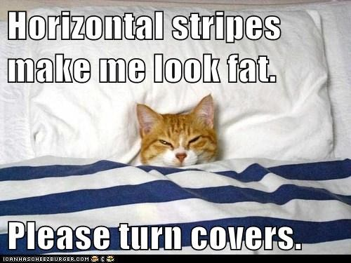 Horizontal stripes make me look fat.  Please turn covers.