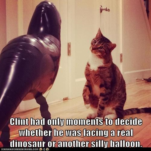 Clint had only moments to decide whether he was facing a real dinosaur or another silly balloon.