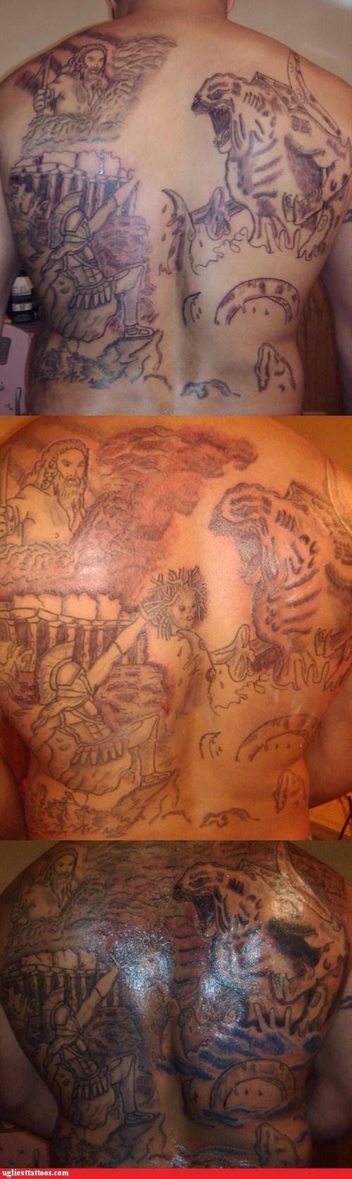 clash of the titans,godzilla,back tattoos