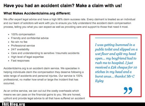 accident claim,TMI,oh god why