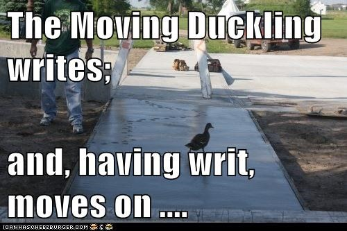 The Moving Duckling writes;   and, having writ, moves on ....