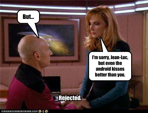 gates mcfadden,android,Captain Picard,rejection,the next generation,kissing,Star Trek,patrick stewart,beverly crusher
