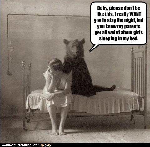Sad,bed,woman,date,bear,parents