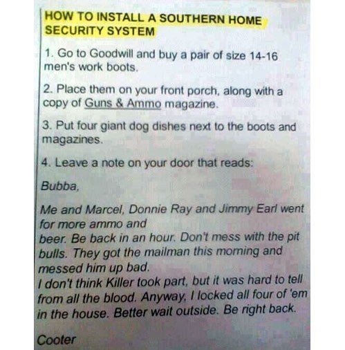 guns,southern,red neck,home security