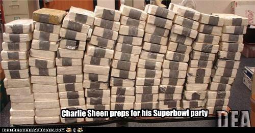 Charlie Sheen preps for his Superbowl party