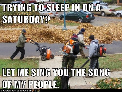 TRYING TO SLEEP IN ON A SATURDAY?  LET ME SING YOU THE SONG OF MY PEOPLE.