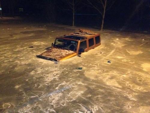 cars,frozen,flood