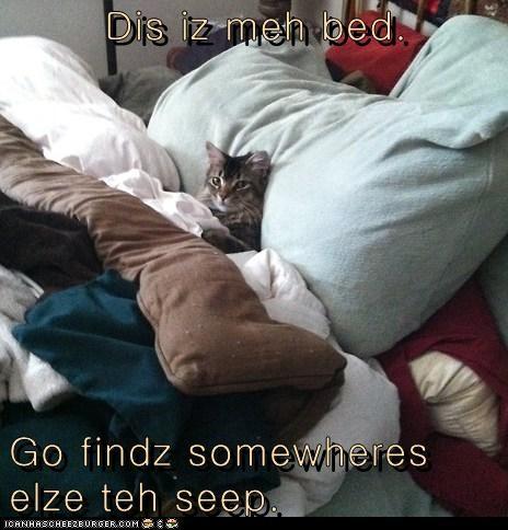 Dis iz meh bed.  Go findz somewheres elze teh seep.