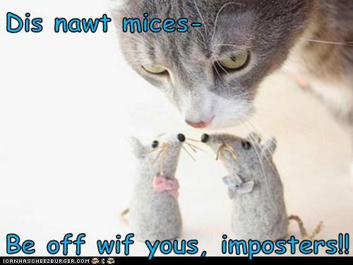 Dis nawt mices-  Be off wif yous, imposters!!