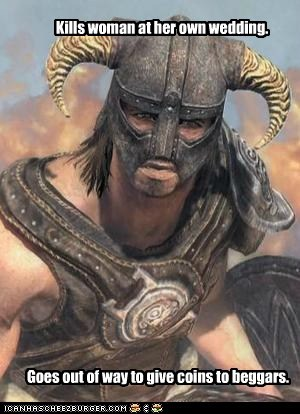 dovahkiin,coins,good guy,beggars,Skyrim,karma