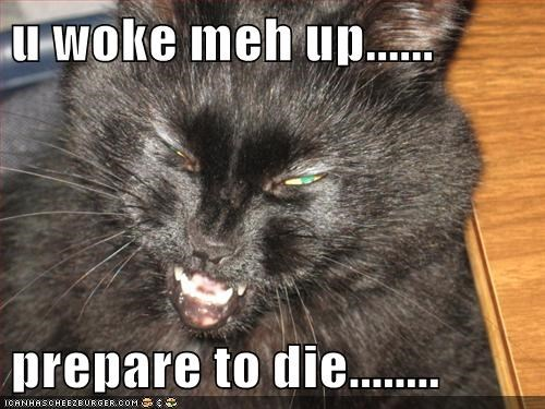 u woke meh up......  prepare to die........