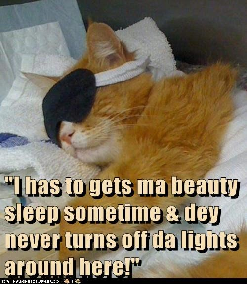 """I has to gets ma beauty sleep sometime & dey never turns off da lights around here!"""