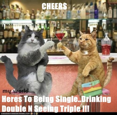 CHEERS  Heres To Being Single..Drinking Double N Seeing Triple !!!