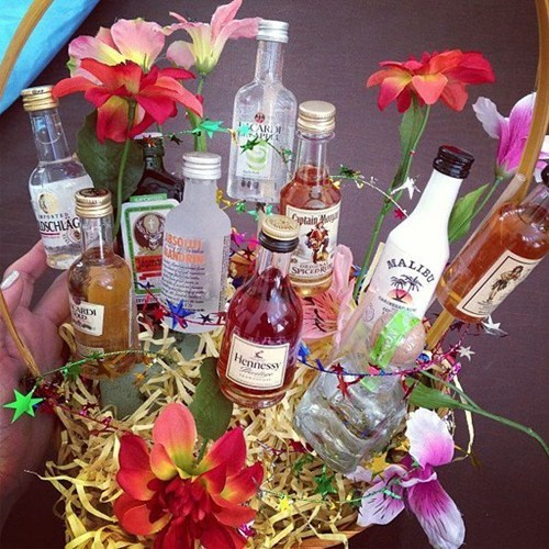 alcohol,bouquet,mini bottles,wedding gifts,after 12,g rated