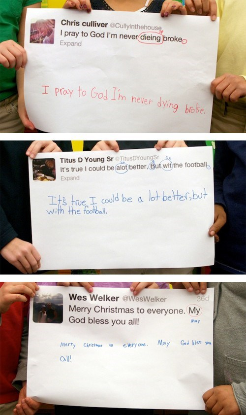 twitter,grammar,second graders,nfl,wes welker,spelling mistakes,chris culliver,titus young,tweet,spelling,failbook