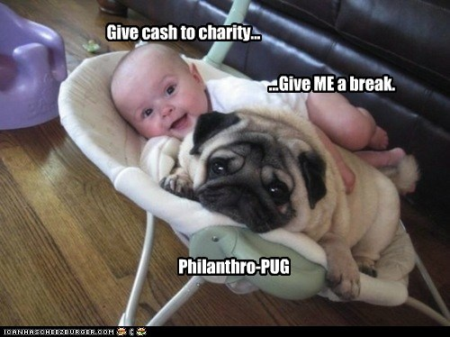 Give cash to charity...