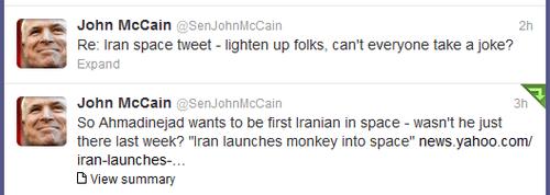 twitter,john mccain,monkey,iran,space