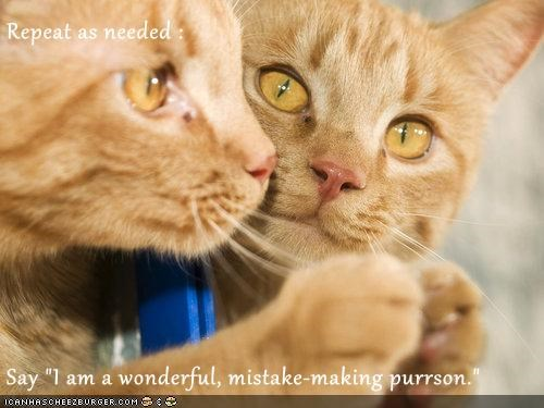 "Repeat as needed :  Say ""I am a wonderful, mistake-making purrson."""