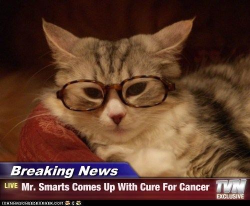 Breaking News - Mr. Smarts Comes Up With Cure For Cancer