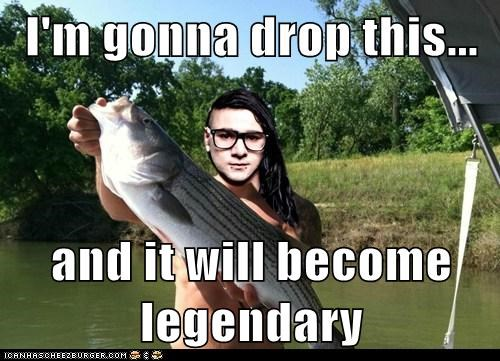 skrillex,puns,dropping the bass,legendary,bass,fish