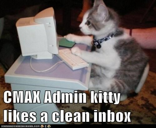 CMAX Admin kitty likes a clean inbox