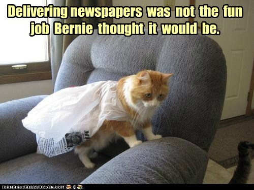 Delivering newspapers  was  not  the  fun job  Bernie  thought  it  would  be.