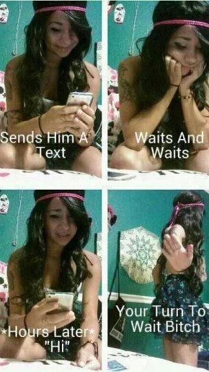 show him,waiting,texting back