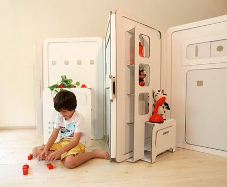 playhouse,kids,design,awesome,folding,cardboard
