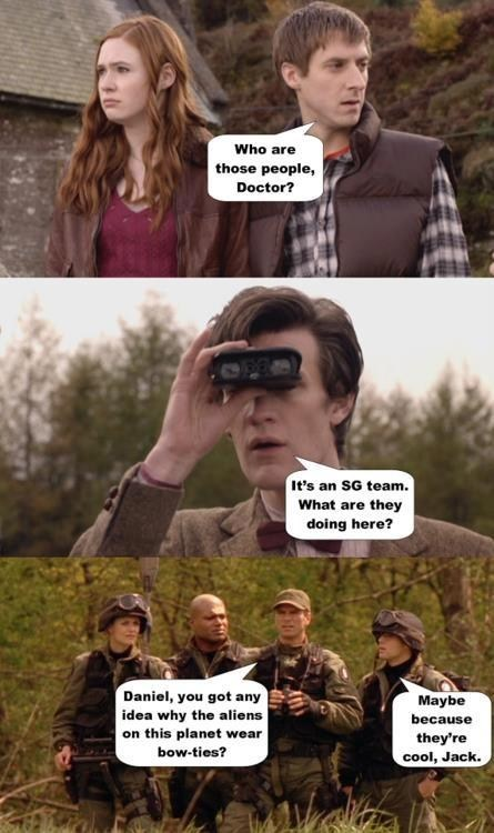 cool,rory williams,jack o'neill,samantha carter,karen gillan,the doctor,Richard Dean Anderson,amanda tapping,Matt Smith,doctor who,Stargate SG-1,amy pond,arthur darvill,bow ties,Stargate