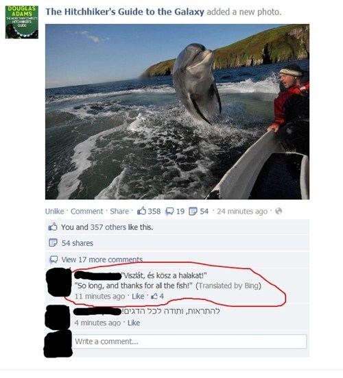 hitchhikers-guide,Douglas Adams,dolphin,translation,nerdgasm,facebook