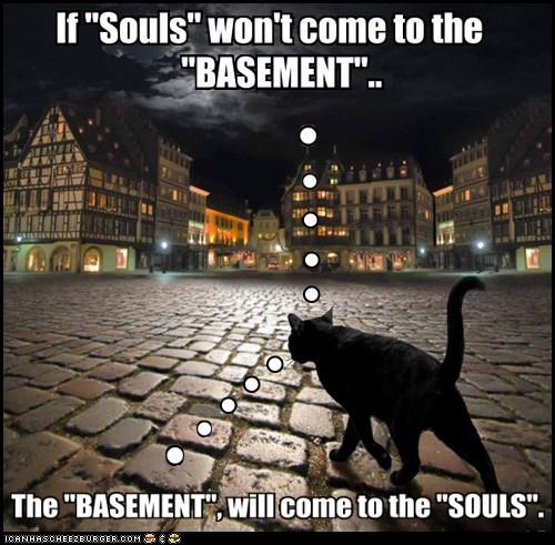 basement cat,cat,evil,souls,funny