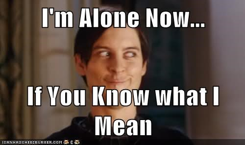 I'm Alone Now...  If You Know what I Mean