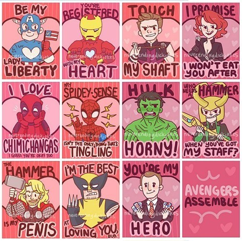 the avenger's,cards,Valentines day,dating fails g rated