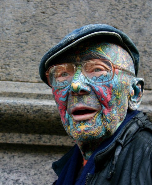 old man,face tattoos