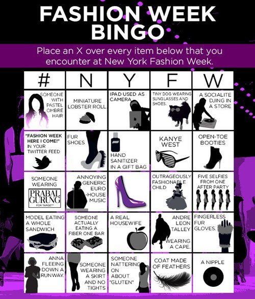 NY Fashion Week Bingo!
