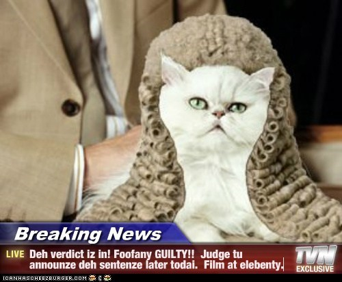 Breaking News - Deh verdict iz in! Foofany GUILTY!!  Judge tu announze deh sentenze later todai.  Film at elebenty.