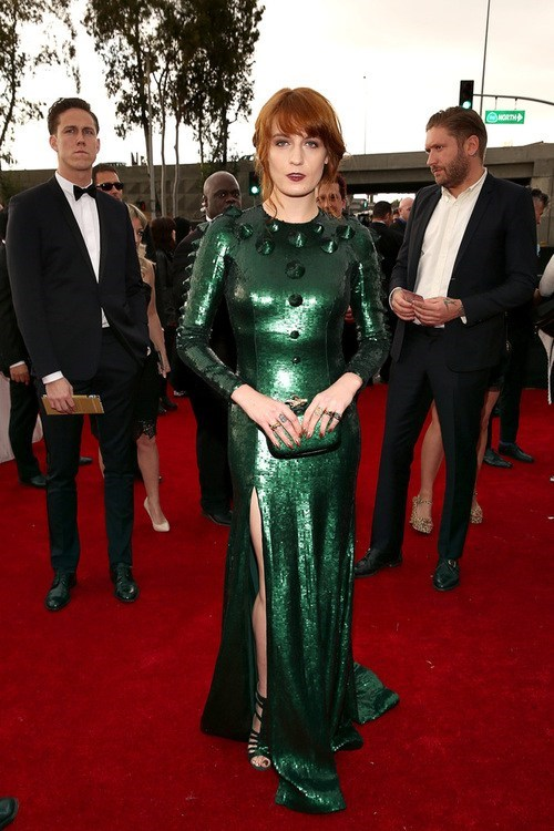 Florence Welch of Florence and the Machine Arriving to the 55th Grammy Awards After Battling Spider-Man