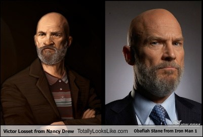 Victor Losset from Nancy Drew Totally Looks Like Obafiah Stane from Iron Man 1