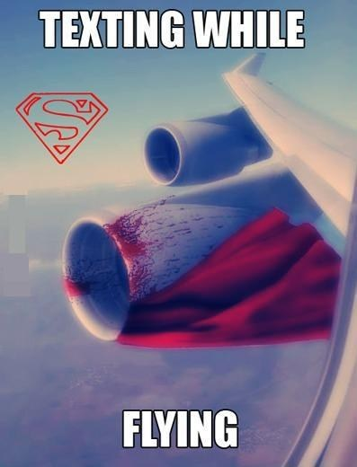 texting while flying,superheroes,superman,AutocoWrecks