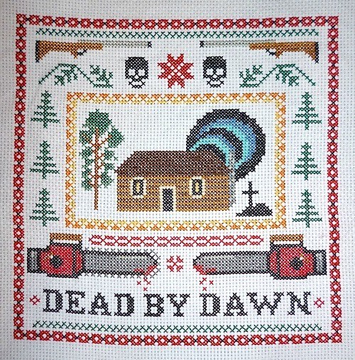 evil dead,DIY,cross stitch,craft,dead by dawn